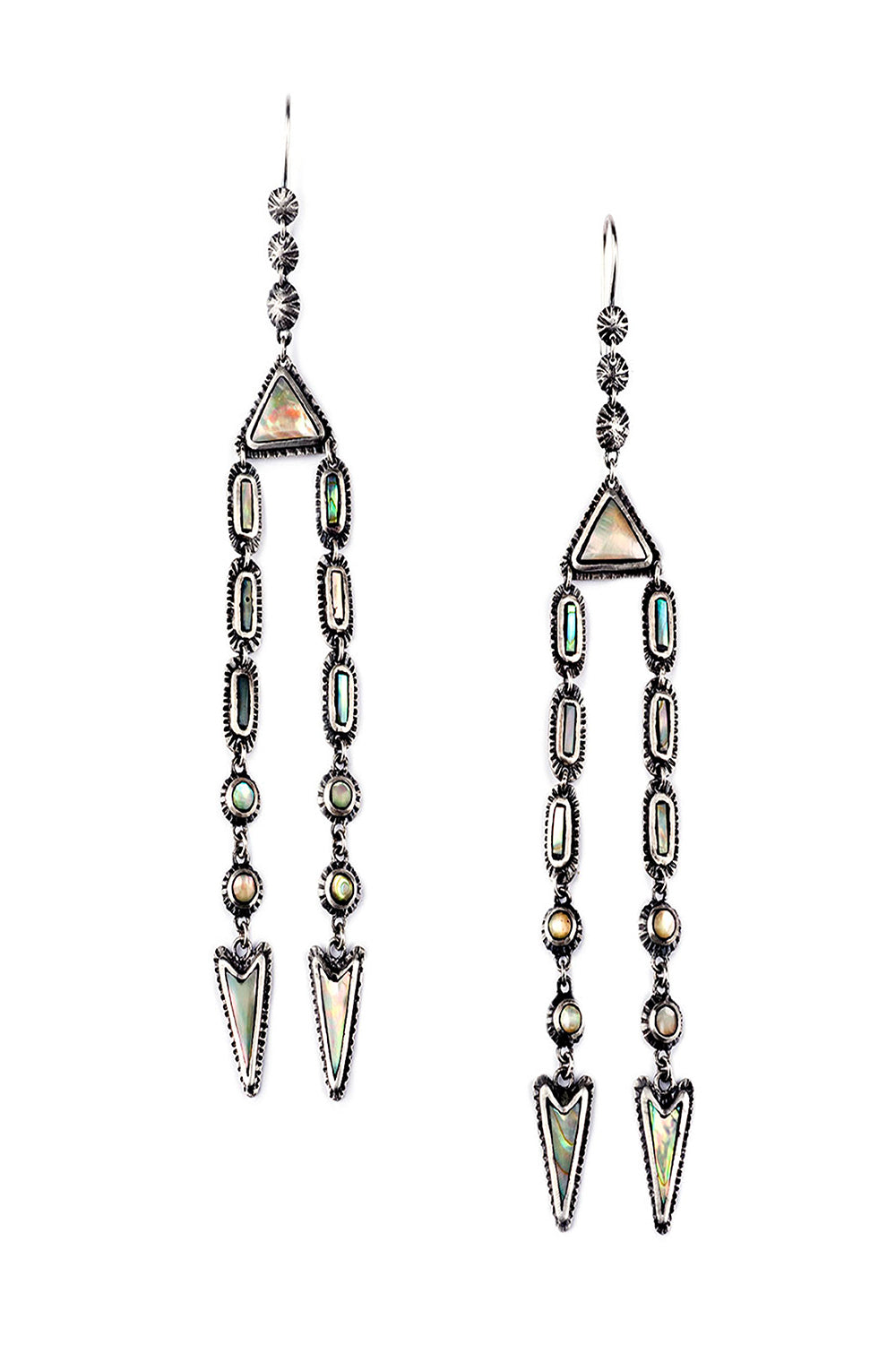 Earrings, Chandelier, Marfa Lights, Abalone