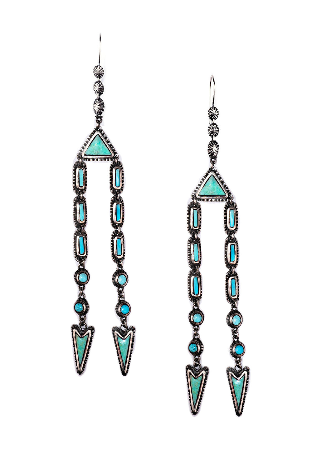 Earrings, Chandelier, Marfa Lights, Turquoise