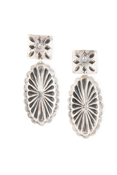 Earrings, Concho, Spiny Coral, Hallmark, 385