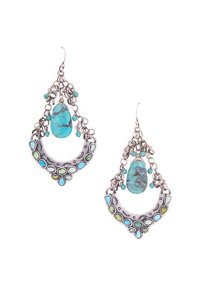 Earrings, Chandelier, Turquoise, Dance Hall, 458