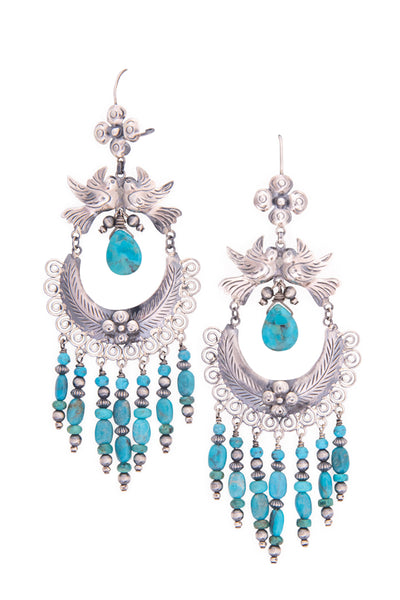 Earrings, Mazahua, Chandelier, Turquoise, Turquoise Flight, 459