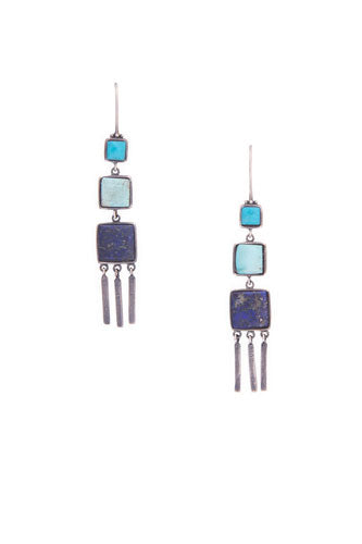 Earrings, Novelty, Sterling Silver & Turquoise, Lapis, Three's Company, 462