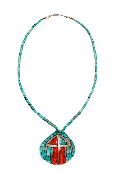 Necklace, Natural Stone, Turquoise, Inlay Shell, Santo Domingo Vintage, 971