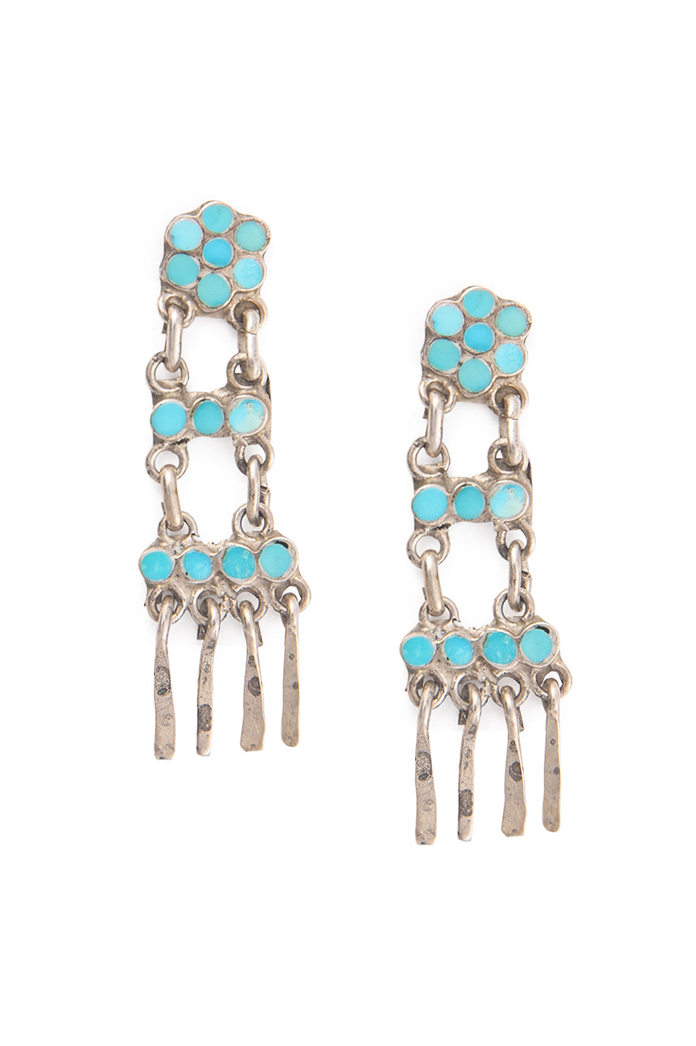 Earrings, Chandelier, Ladder, Turquoise, Dishta Style, Vintage, 485