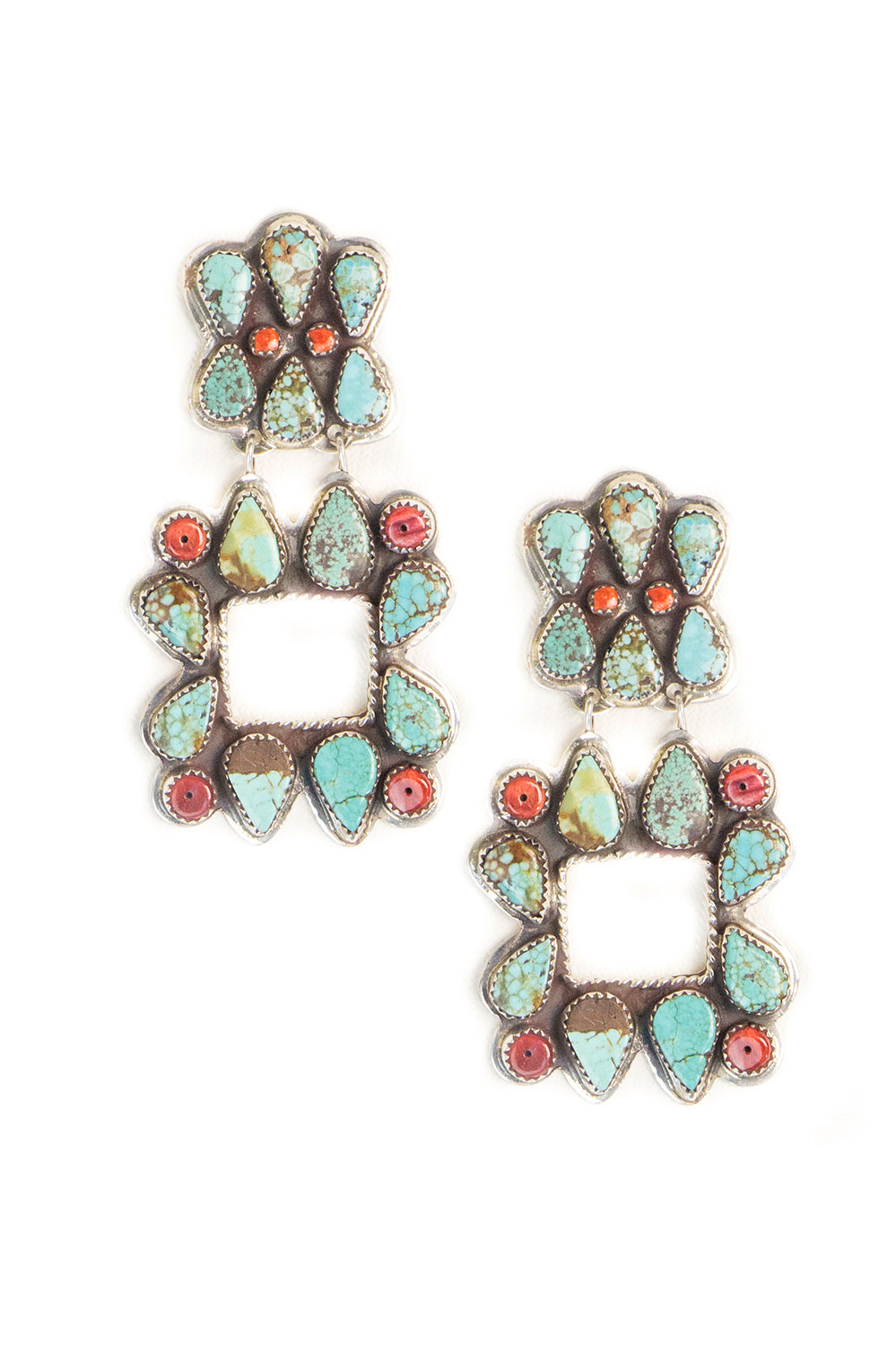 Earrings, Chandelier, Turquoise & Coral, Hallmark, Vintage
