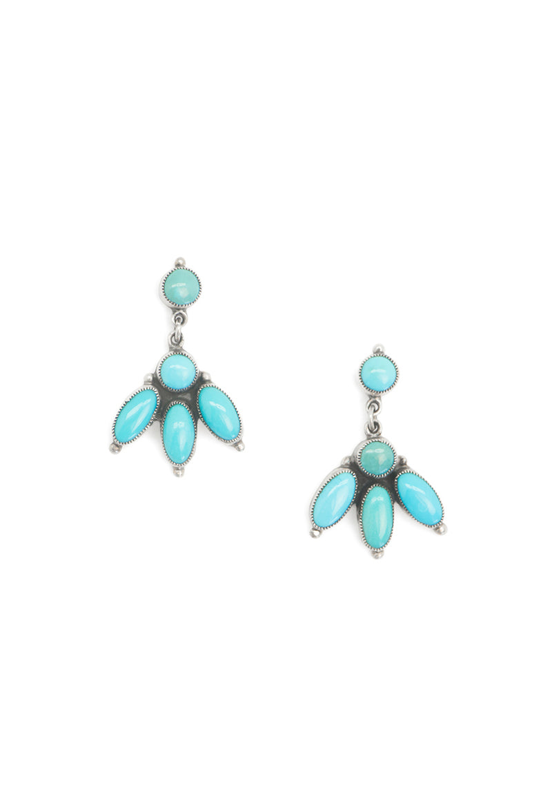 Earrings, Cluster, Turquoise, Hallmark, Vintage, 501