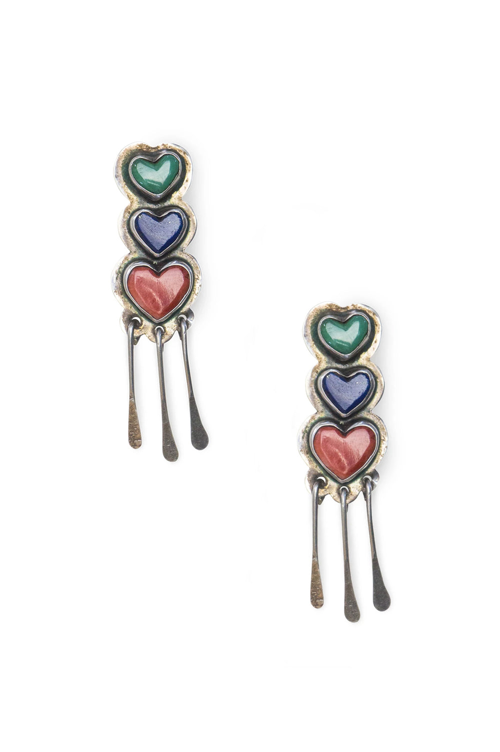 Earrings, Chandelier, Hearts Turquoise, Lapis, Spiny Oyster, Hallmark, Vintage, 504