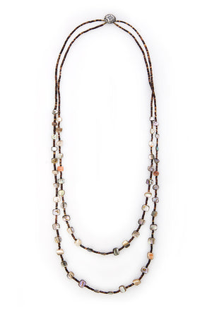 Necklace, Natural Stone, Heishi, Abalone, Plaza Blanca