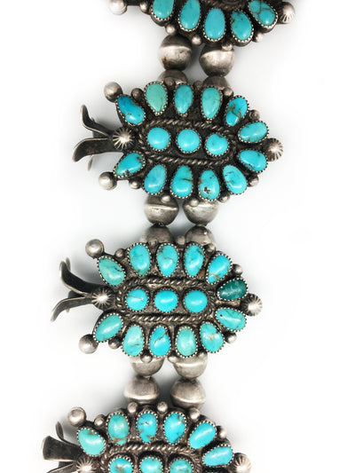 Necklace, Squash Blossom, Vintage, Turquoise, Lone Mountain, 1950's