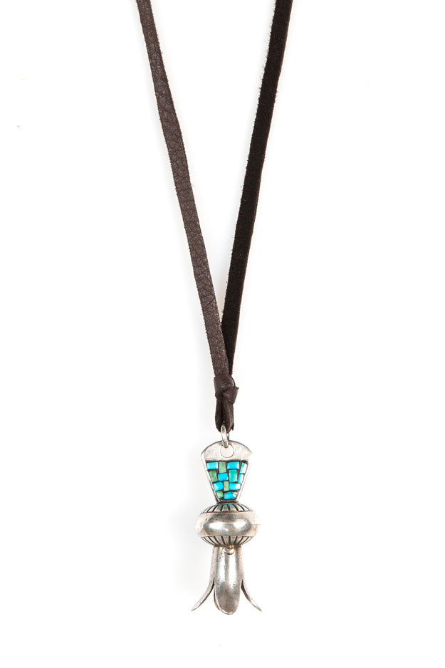 Necklace, Leather Thong, Mosaic Blossom, 520
