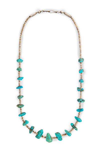 Necklace, Natural Stone, Tab & Heishi, Turquoise, Single Strand, Vintage, 894