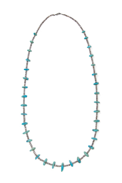 Necklace, Natural Stone, Tab & Heishi, Turquoise, Vintage, 937