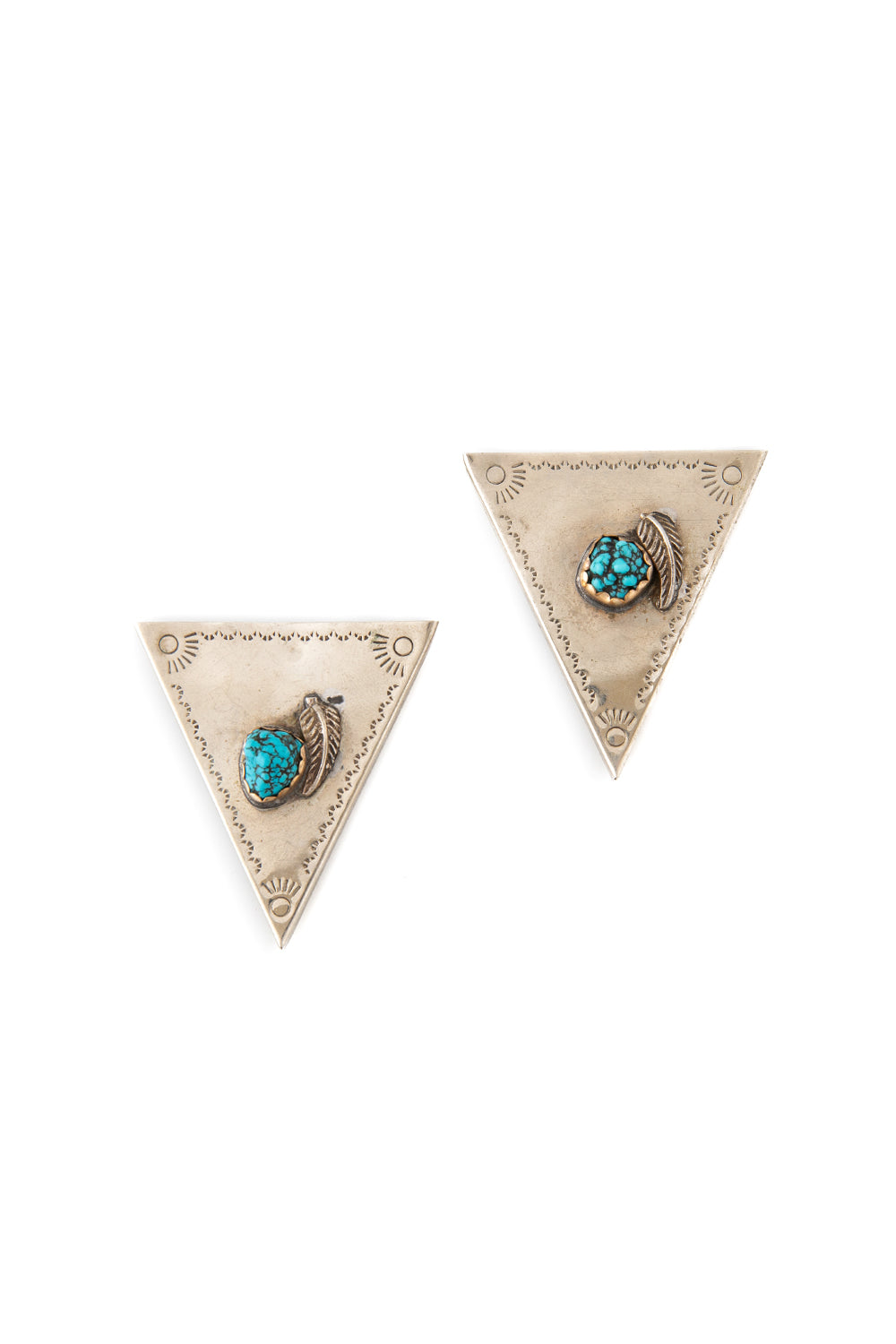 Collar Tips, Sterling Silver & Turquoise, Vintage, 279