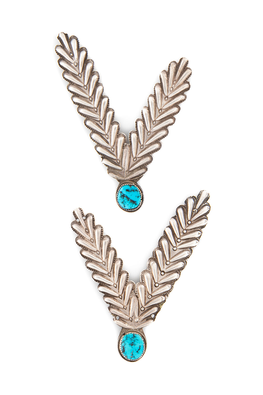 Collar Tips, Sterling & Turquoise, Old Pawn, 295