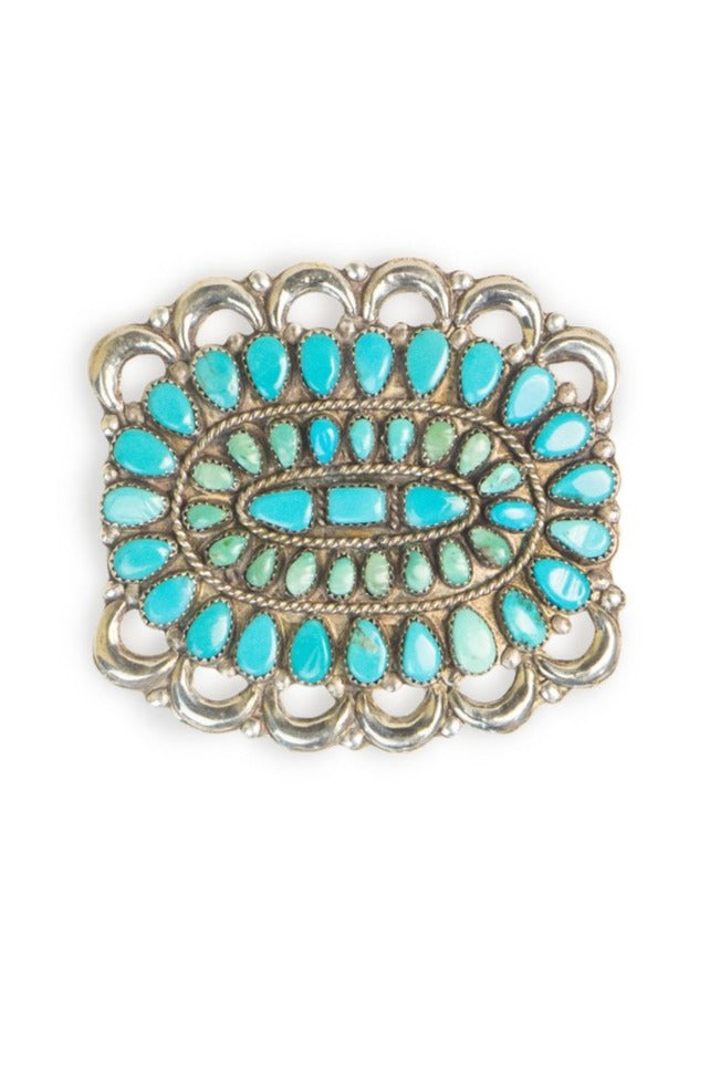 Pin, Cluster, Sterling Silver & Turquoise, Vintage, 397