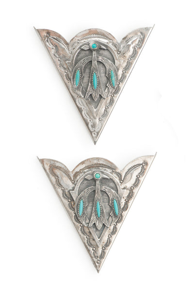 Collar Tips, Sterling & Turquoise, Set, Thunderbird, Vintage, 414