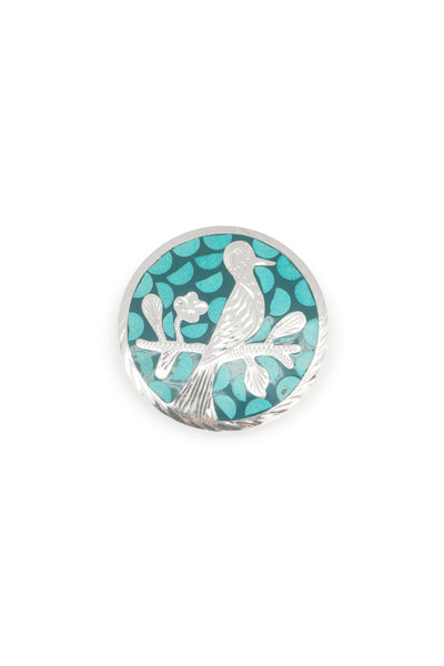Pin, Novelty, Sterling Silver & Turquoise, Inlay, Hallmark, Vintage, 418