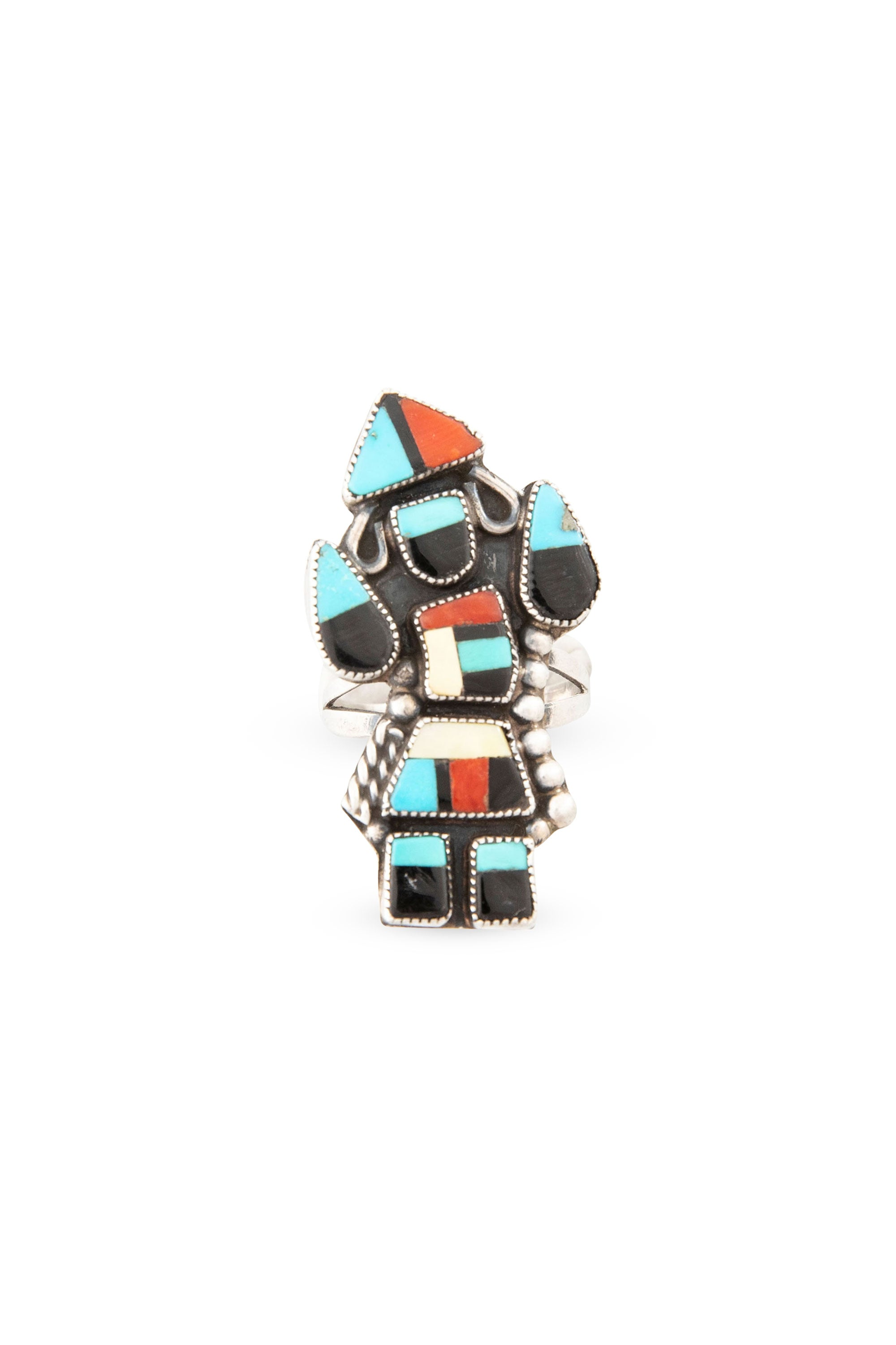 Ring, Inlay, Zuni, Kachina, Vintage, 406