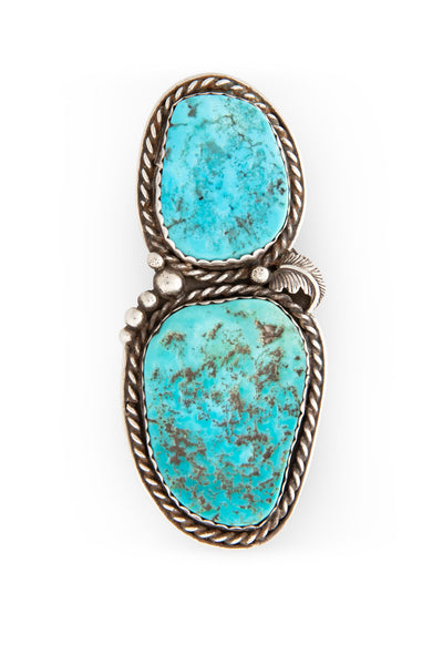 Ring, Turquoise, Double Stone, Old Pawn, 457
