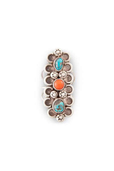 Ring, Coral & Turquoise, 3 Stone, Long, 471