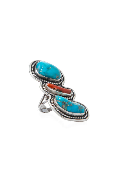 Ring, Coral & Turquoise, Hallmark, Vintage, 493