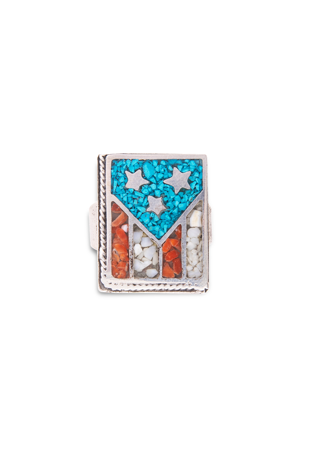 Ring, Mosaic Inlay, Flag, 498