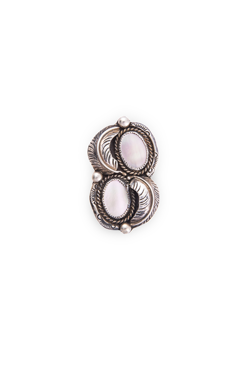 Ring, Mother of Pearl, Double Stone,  Vintage, 501