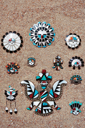 Pin, Zuni Inlay, Vintage, Sun Face, 112