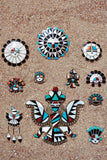 Vintage Zuni Sun Face with Headdress Pin 114