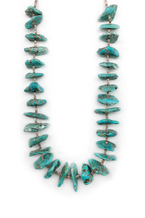 Necklace, Natural Stone, Tab & Heishi, Turquoise, 552
