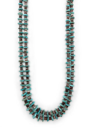 Necklace, Natural Stone, Tab & Heishi, Turquoise, 2 strand, 553