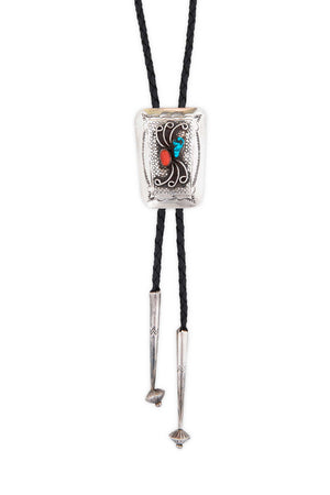 Bolo, Turquoise & Coral, Vintage, 627