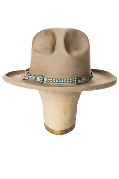 Hat Band, Navajo, Turquoise, Double Buckle, Old Pawn
