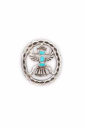 Pin, Turquoise, Vintage, Knifewing, Navajo, 1970's