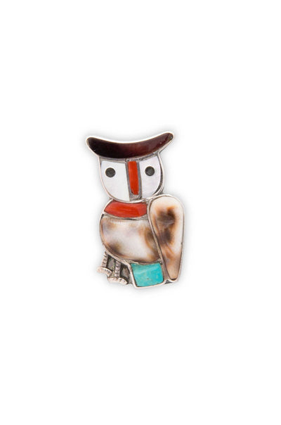 Pin, Zuni Inlay, Vintage, Owl, 1960's, 201