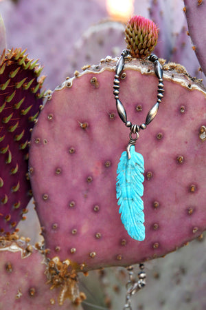 Necklace, Bead, Sterling & Turquoise, Dance Feather