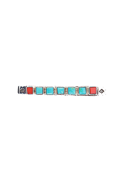 Cuff, Turquoise & Coral, Row, 7 Stone, Contemporary, 2621