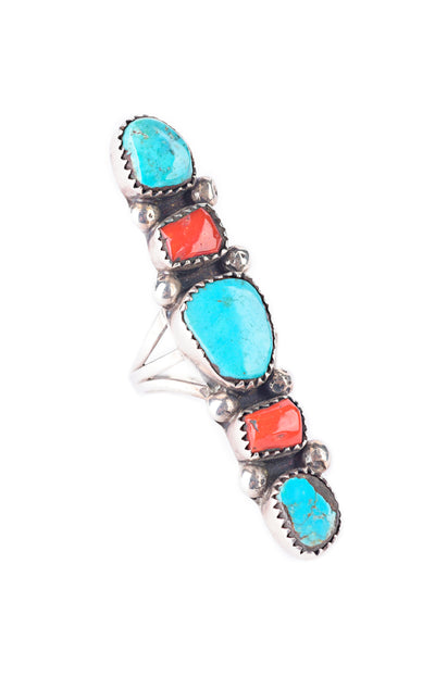 Ring, Coral & Turquoise, Statement Shield, Vintage, 50's, 593