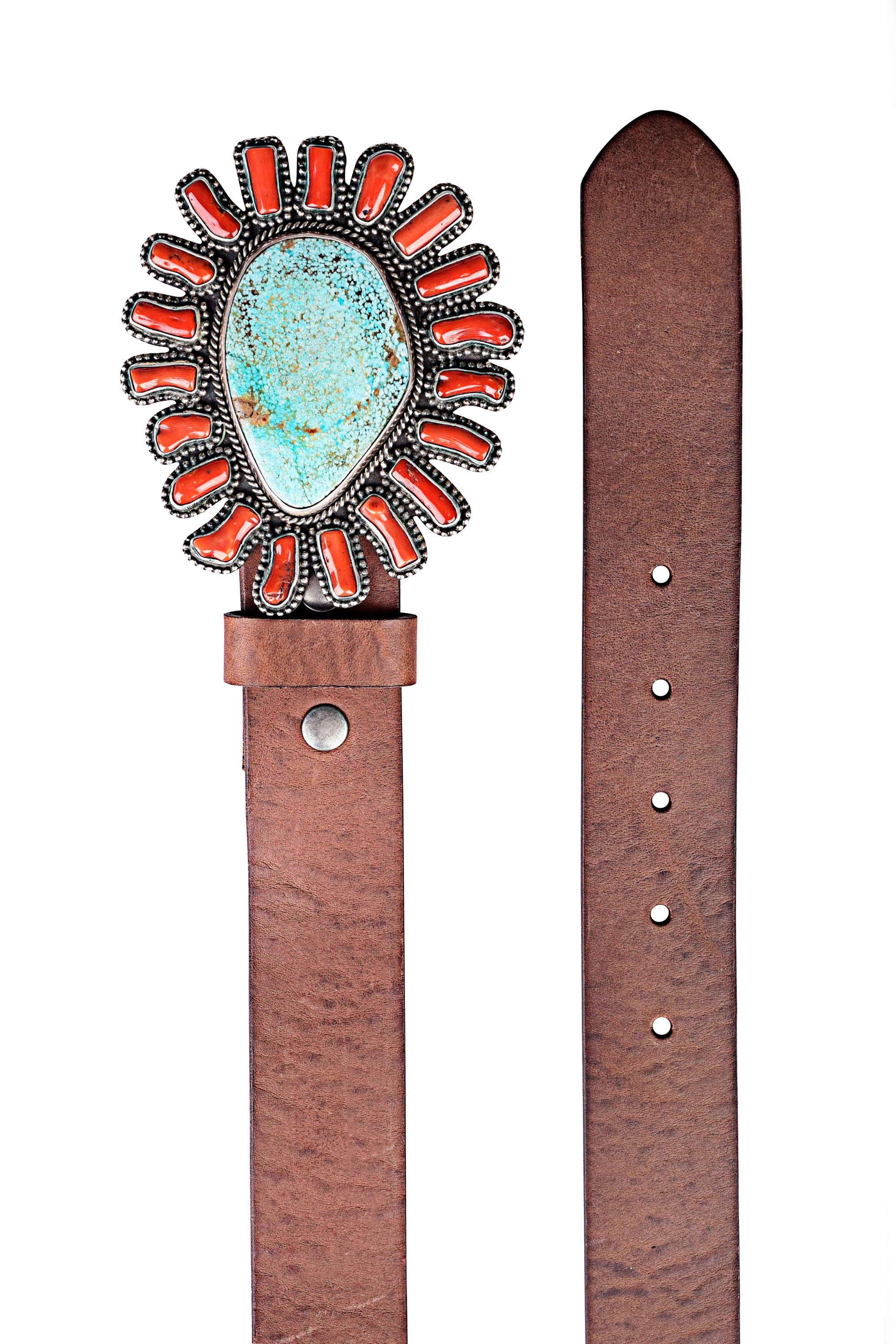 Belt, Buckle, Turquoise & Coral, Hallmark, Contemporary, 877