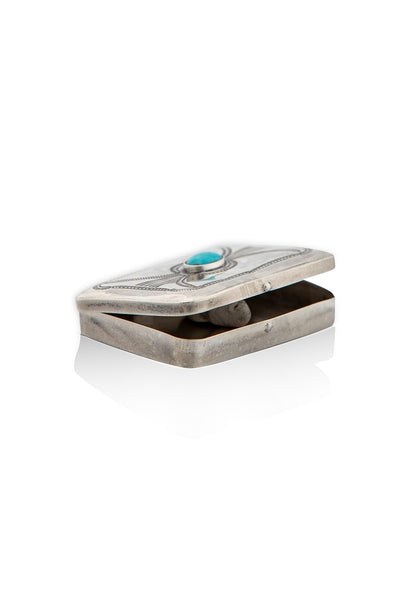 Miscellaneous, Pill Box, Sterling Silver & Turquoise, Vintage, 143