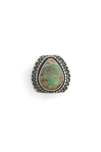 Ring, Turquoise, Single Stone, Stepped Mounting, Old Pawn, 584