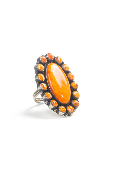 Ring, Cluster, Orange Spiny Oyster, Contemporary, 573