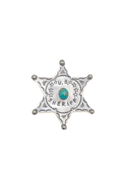 Pin, Novelty, Sterling Silver & Turquoise, Sheriff Badge, Hallmark, 394