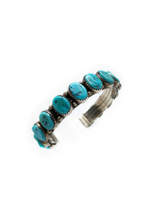 Cuff, Turquoise, Vintage, 14 Stones, 2219