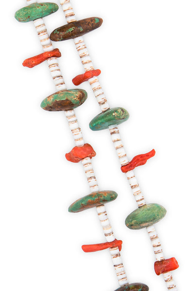 Necklace, Natural Stone, Tab & Heishi, Turquoise & Coral, Vintage, 618