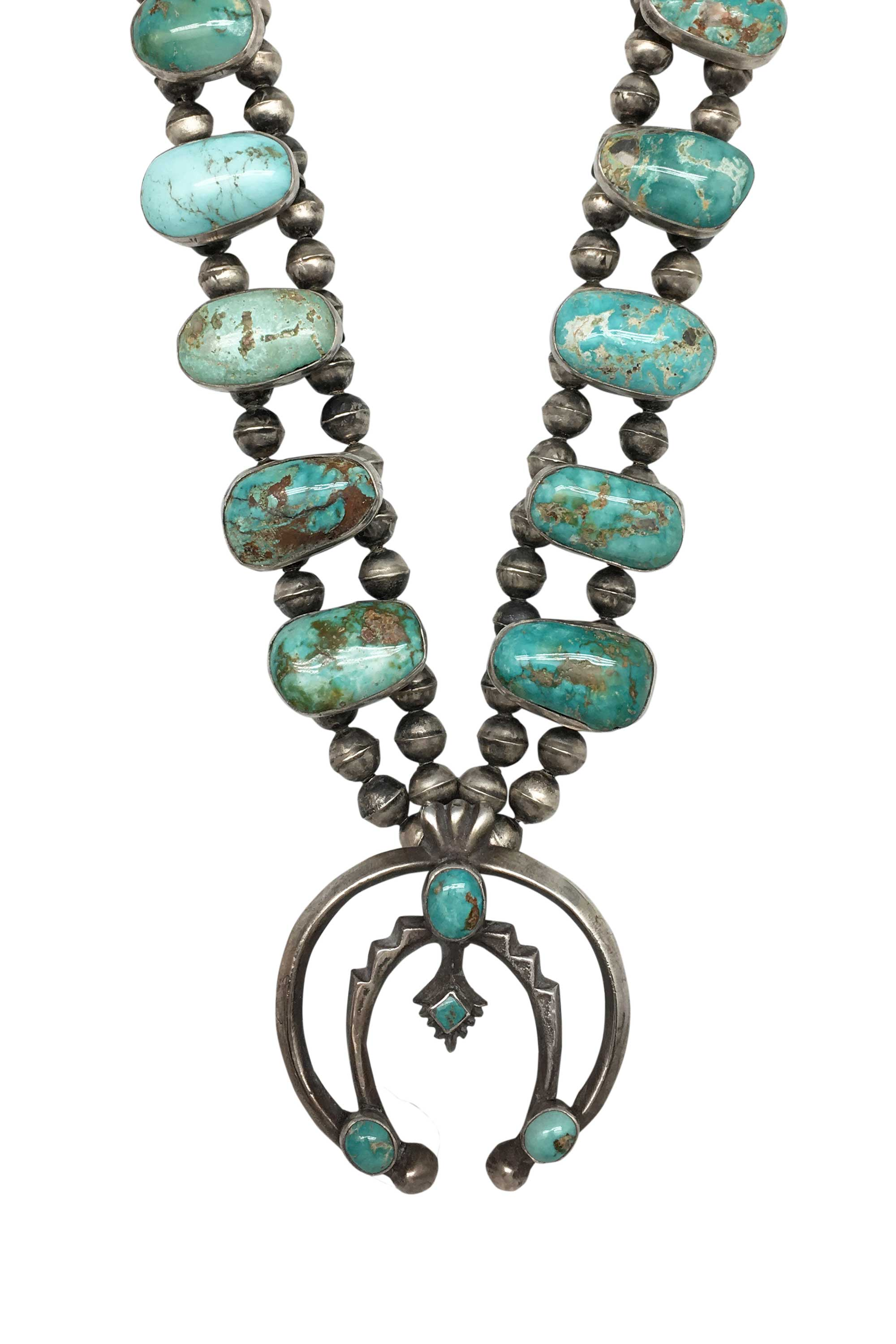 Necklace, Squash Blossom, Turquoise, Vintage, Royston, 1960's