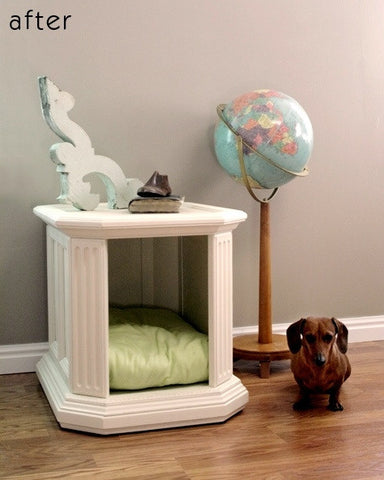 DIY Re-purposed Side Table Dog Bed