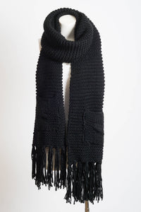 Leto Accessories - Oversized Two Pocket Tassel Scarf