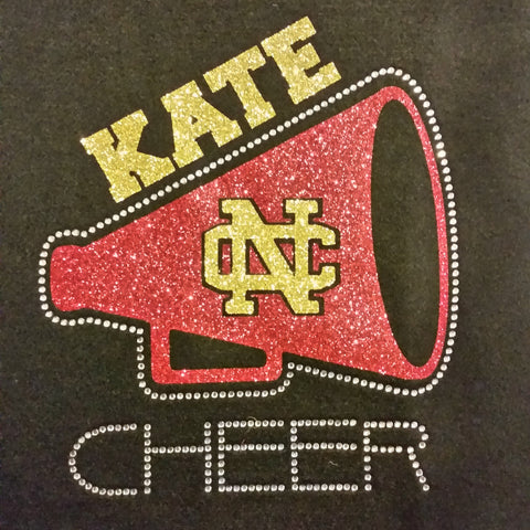 North Catholic Trojans Cheer Megaphone Glitter & Rhinestone Design