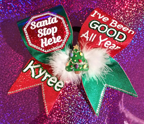 Santa Stop Here Personalized Bow